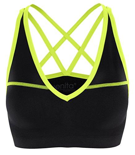 Donna imbottito reggiseno sportivo bordo di Neon - ideale per l'uso quotidiano o per l'esercizio fisico Giallo neon