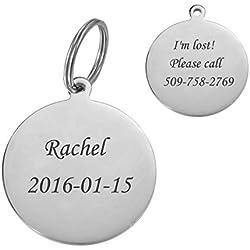 BY Personnalisé Médaille pour Chat Chien Identification en Acier Inoxydable Pendentif Round Gravure Gratuit en Deux Faces 40mm