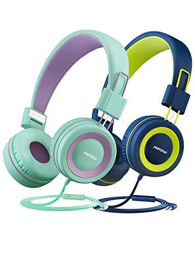 Mpow Cuffie per bambini (confezione da 2) con limitatore di volume di 91dB e protezione per l'udito, leggere cuffie comode...