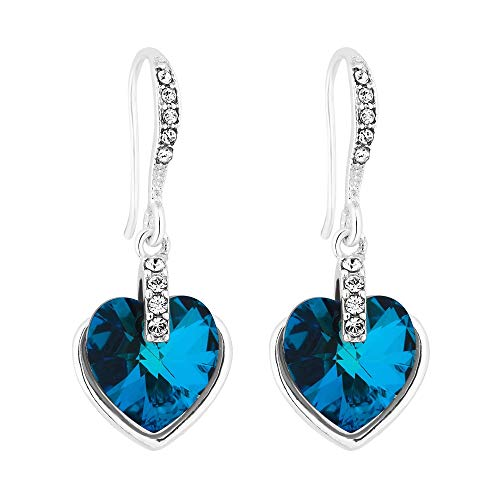 4736a041d02 Jon Richard Made With Swarovski® Crystals Women's Silver Bermuda Blue Heart  Drop Earring Embellished With