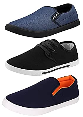 Chevit Men's Black Navy and Blue Canvas Casual Shoe 6 Uk/Ind -Combo Pack of 3