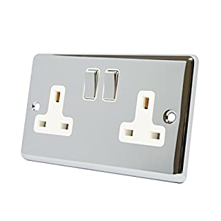A5 Products 13A Double Plug Socket 2 Gang Polished Chrome Classic - White - Metal Rocker Switches