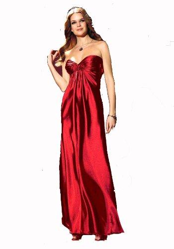 Laura Scott Evening Damen-Kleid Satin-Abendkleid Rot Größe 17 (34)