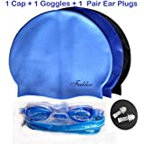 UNYBUY® Swimming Combo| Swimming Kit | 1 Silicone Cap + 1 Goggles + 1 Pair Ear Plugs for Men, Women, Girls, Boys, Kids
