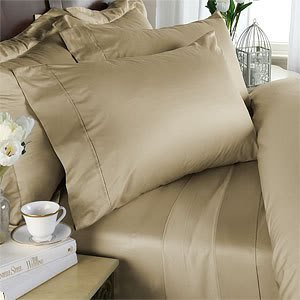 Beige Plain - Solid Olympic Queen Size Bed Sheet Set - 1200 Thread