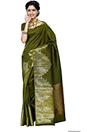Mimosa Women's Tussar Silk Embouse Woven Saree With Blouse Piece - 2070-OLV_Olive_Free Size