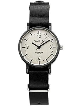 JSDDE Uhren,Unisex Armbanduhr Einfach Designer Analog PU Lederband Arabische Ziffern Analog Qaurzuhr,schwarz