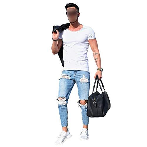 Xinvivion uomini's magro jeans estate casualee denim pantaloni strappato sottile dritto jeans ginocchia aperte pantaloni