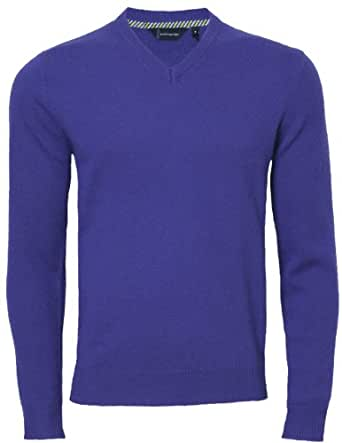 Men's Casual Fashion V Neck Lambswool Jumper, Royal Blue, Small