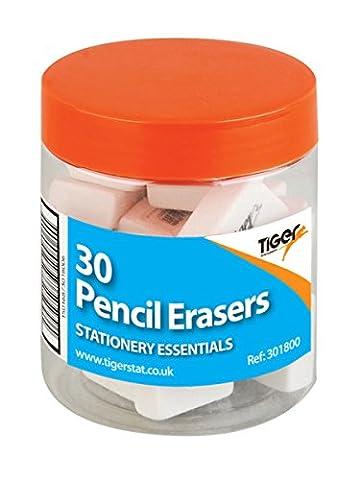 Tub of 30 pencil erasers (2.5 x 2 x 1cm), white