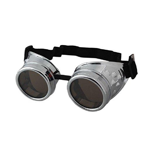 Kostüm Schutzbrille Schweißen - Zolimx Steampunk Goggles Vintage Style Schweißpunk Gläser (Silber)
