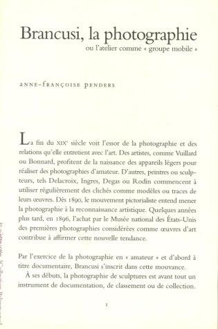 Brancusi, la photographie, ou, L'atelier comme groupe mobile