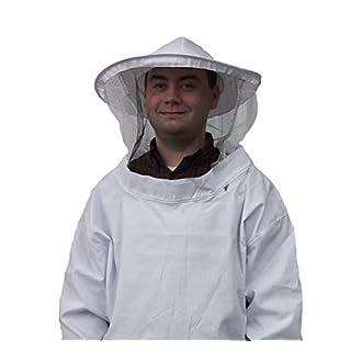 AVSUPPLY Weiß Imker Schutz Anzug Smock Kleid Equipment Mantel Bienenzucht Jacke Sleeve Hat mit Schutzhülle Veil Smock