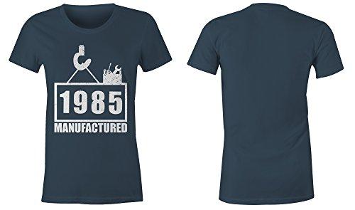 Manufactured 1985 - Rundhals-T-Shirt Frauen-Damen - hochwertig bedruckt mit lustigem Spruch - Die perfekte Geschenk-Idee (03) dunkelblau