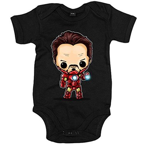 Body bebé Chibi Kawaii Iron Man parodia - Negro, 6-12 meses