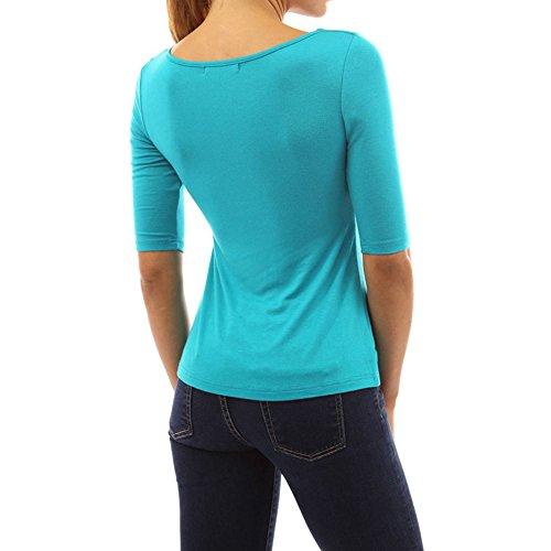 Dihope Femme Été Top de Loisir Sexy à 1/2 Manches Col Rond T-shirt Casual Haut Tee-shirt Slim Fit Blouse Bleu