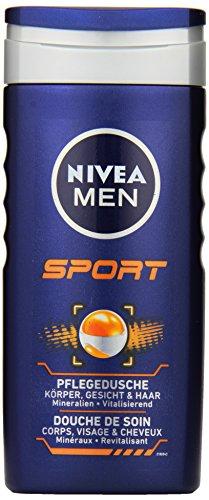 NIVEA Men Duschgel für Körper, Gesicht & Haar, 250 ml Flasche, Sport
