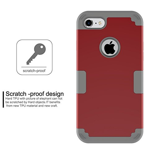 GHC Cases & Covers, Für iPhone 7 Trennbare Kontrastfarbe PC + Silikon Kombi-Gehäuse ( Color : Purple ) Red