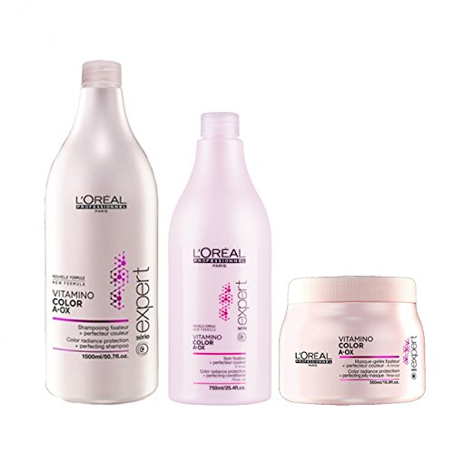 L 'Oreal Série Expert Vitamino Color A. Ox Shampoo (1500 ml), Klimaanlage (750ml) und Maske (500 ml) Set (Color Loreal Care Professional)
