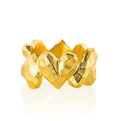 Drachenfels Luxus Damen Ring Silber goldplattiert aus der Kollektion Heartbreaker, Faszinierender Herz Ring goldplattiert, Edler Designer-Schmuck, Designer-Ring