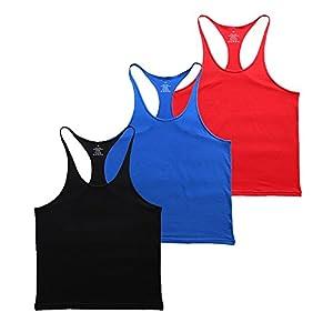 Musclealive Herren Fitnessstudio Stringer Unterhemd 1 cm Strap dehnbares Material aus Baumwolle
