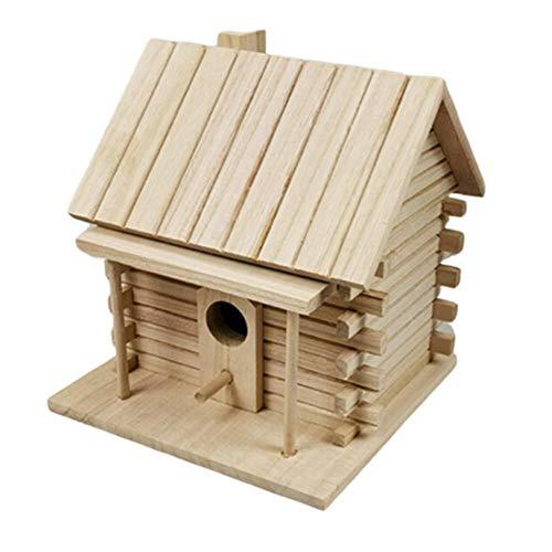 SmallPocket Holz Vogelhaus DIY Vogelhaus Hölzernes Vogelhaus Warmer Brutkasten Wellensittich Mynah Vogelkäfig Im Freien für Garten und Balkon 17 x16 x18 cm