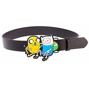 Adventure Time Cinturón Negro con Jake y Finn 2D Buckle (Medium)