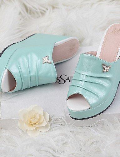 LFNLYX Scarpe Donna-Sandali-Matrimonio / Formale / Casual / Serata e festa-Zeppe-Zeppa-Finta pelle-Nero / Blu / Rosa Blue