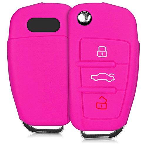 kwmobile Autoschlüssel Hülle für Audi - Silikon Schutzhülle Schlüsselhülle Cover für Audi 3-Tasten Klappschlüssel Pink (Auto Kitty Hello)