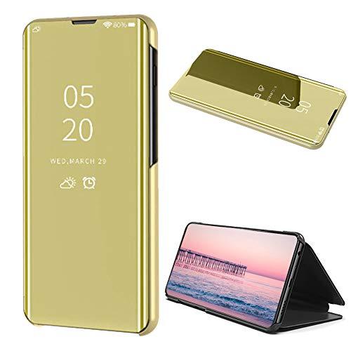Gold Klar Aussicht Fenster Hülle für Samsung Galaxy Note 10,Mirror Handyhülle für Samsung Galaxy Note 10,Moiky Luxuriös Edel Spiegel Bewirken Überzogen Metall Clear Ständer Hülle