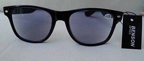 GKA Nerd 2in1 Sonnenbrille mit Sehstärke Sonnenlesebrille mit Federbügel Lesebrille braun-leo oder schwarz Damen und Herren (schwarz, 1,5)