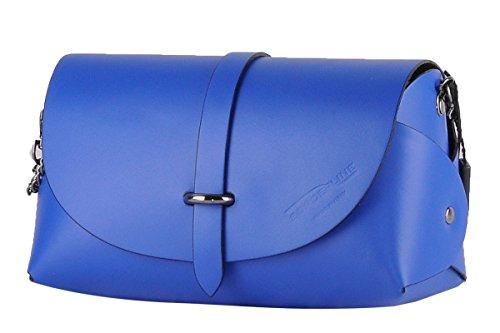 Borderline - 100% Made In Italy - Pochette In Vera Pelle - Evelina G. Blu