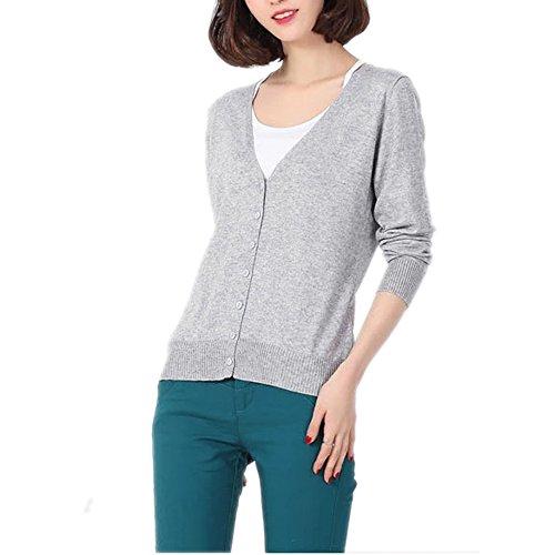 HIDOUYAL Women Jacket Cardigan slim Fit T-shirt (Hell Grau, XL)
