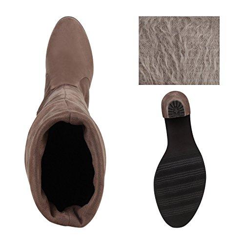 Klassische Damen Stiefel Overknees Basic Lederoptik Taupe