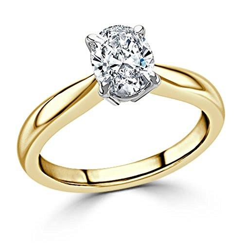 Forever Diamond  -  14K Yellow Gold  14K Gelbgold Ovalschliff   Hochfeines Weiß +/River (D) Diamant  - Diamond Forever