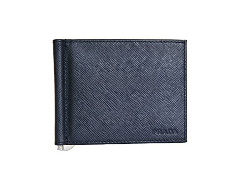 Prada Mens Bi-fold Wallet with Money Clip Saffiano Blue Leather 2M1077