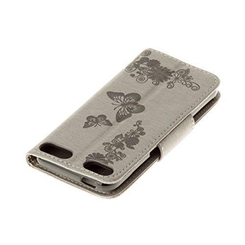Custodia iPod touch 5, ISAKEN Cover iPod touch 6, Elegante borsa Tinta Unita Albero Design in Sintetica Ecopelle PU Pelle Flip Cover Protettiva Portafoglio Case Caso con Supporto di Stand / Carte Slot Farfalla: grigio