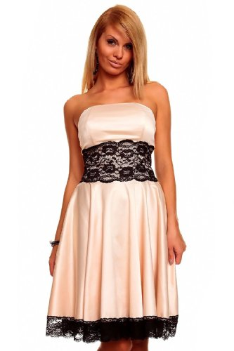 Knielanges Bandeau Kleid Satinkleid Ballkleid Abendkleid Cocktailkleid Festkleid Beige L (38)