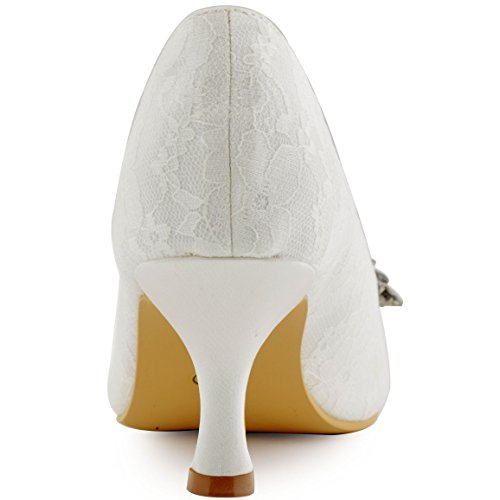 Elegantpark EP11013 Bout Ouvert Dentelle Mittler Absatz Femme Chaussures de Mariage Dentelle AA01 Ivoire