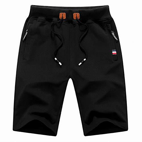 CHLCH Herren Sport Shorts Jogginghose KordelzugHerren Freizeitshorts Schwarz XL -