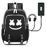 Sac à Dos Marshmello DJ Multi-Fonction, Sac à Dos Sac Enfant Sac College - Voyages, Scolaire, Loisirs - de Chargement USB Scolaire Sac