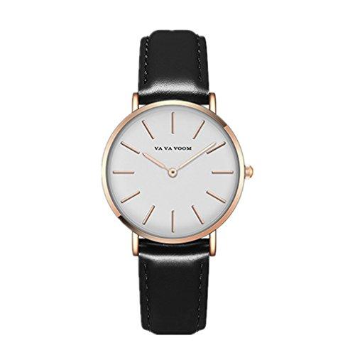 Damen Uhren,L'ananas Frauen Adrettes Aussehen Weisses Gesicht Einfacher Leser Quarz Anolog Maid Mädchen Schüler Armband Armbanduhren Bracelet Wristwatches (Schwarz)