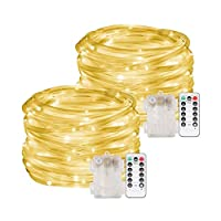 2pcs 100 LED Dimmable Rope String Lights with Remote Control, Waterproof Fairy Lighting for Garden Patio Party Festival Wedding Birthday Outdoor Decoration(Warm White, Battery Powered)