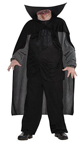 Halloweenia - Herren Männer Kopfloser Reiter Kostüm - Headless Horsemann, Umhang, Shirt, Weste, Kopf- und Schulterteil, M/L, Schwarz