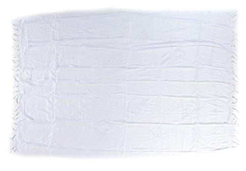 Premium Sarong Pareo Wickelrock Strandtuch Lunghi Dhoti Schlicht Blickdicht Tolle Stickerei Einfarbig Uni Weiß (Pareo Weiß)