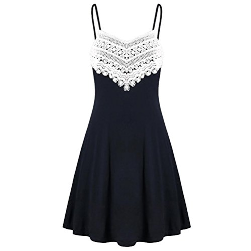 MRULIC Mode Frauen Häkelspitze Backless Mini Slip Kleid Leibchen Ärmelloses Kleid(Schwarz,EU-40/CN-M)