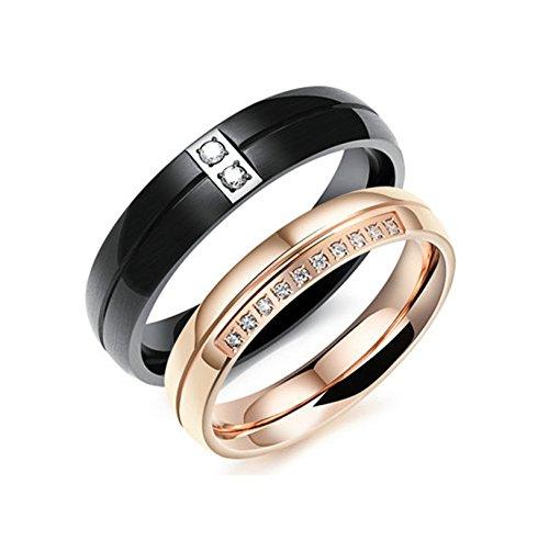 BeyDoDo Modeschmuck 1 PCS Edelstahlring für Damen Hochglanzpoliert Zirkonia Breite 4MM Verlobungsring Rosegold Ring Hochzeit Ringgröße 54 (Von Arten Nerd Kostüme Verschiedene)