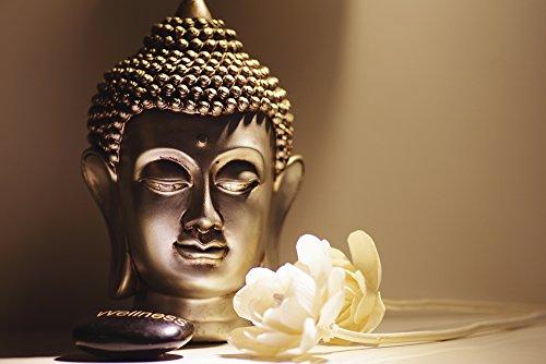 Artland Qualitätsbilder I Bild auf Leinwand Leinwandbilder Wandbilder 90 x 60 cm Fantasy Mythologie Religion Buddhismus Foto Natur D8GN Buddhas Kopf Ruhe mit Weißen Rosen