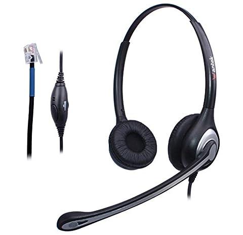 Casque Téléphone Fixe Binaural RJ9 avec Micro Anti-bruit, WANTEK Écouteurs de Centre d'appel pour Téléphoniques de Bureau Cisco 7940 7942 ou Plantronics M10 M12 M22 MX10 Amplificateurs(F602C1)