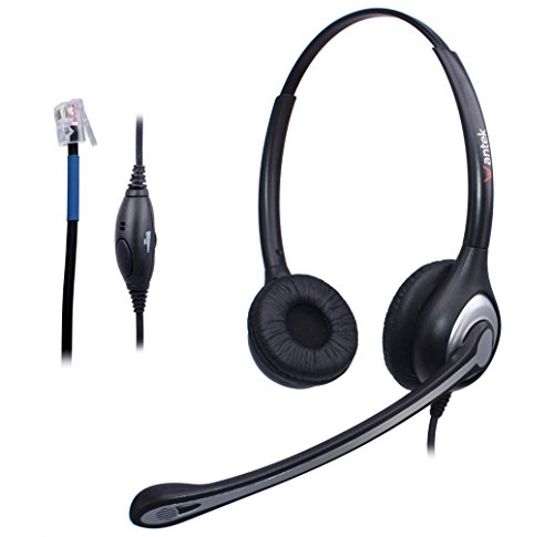Telefon Headset RJ9 Binaural mit Noise Cancelling Mikrofon, Lautstärkeregler, WANTEK Call Center Kopfhörer für Plantronics M10 M12 Verstärker oder Cisco 7940 7942 Office IP-Telefone(F602C1) (Cisco Headset Ip)